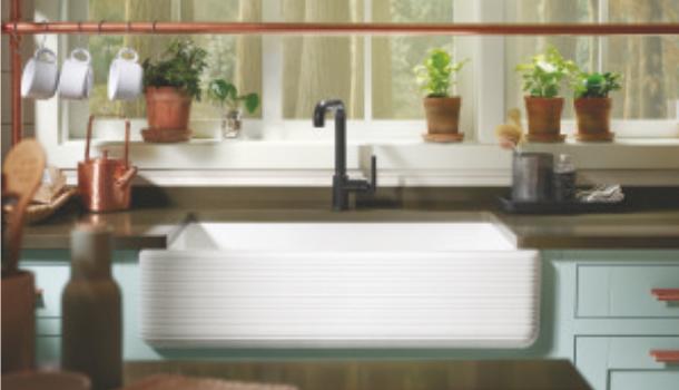 "Kohler Whitehaven 35-11/16"" Single Basin Apron Front Kitchen Sink"