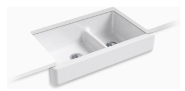 "Kohler Whitehaven 35-1/2"" Double Basin Apron Front Kitchen Sink"