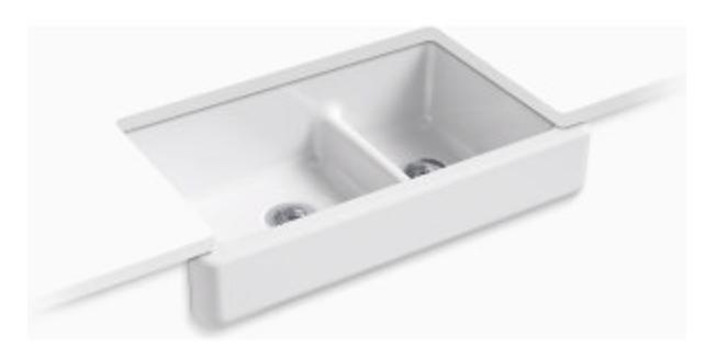 "Kohler Whitehaven 35-1/2"" Double Basin Apron Front Kitchen Sink"