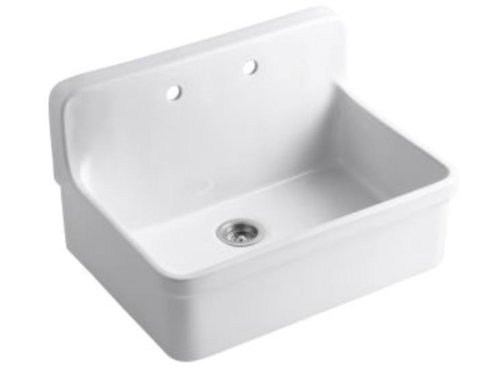 "Kohler Gilford 30"" Single Basin Wall Mount Kitchen Sink"