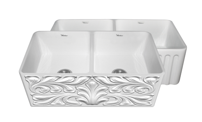 "Whitehaus Gothichaus 33"" Double Basin Apron Front Kitchen Sink"