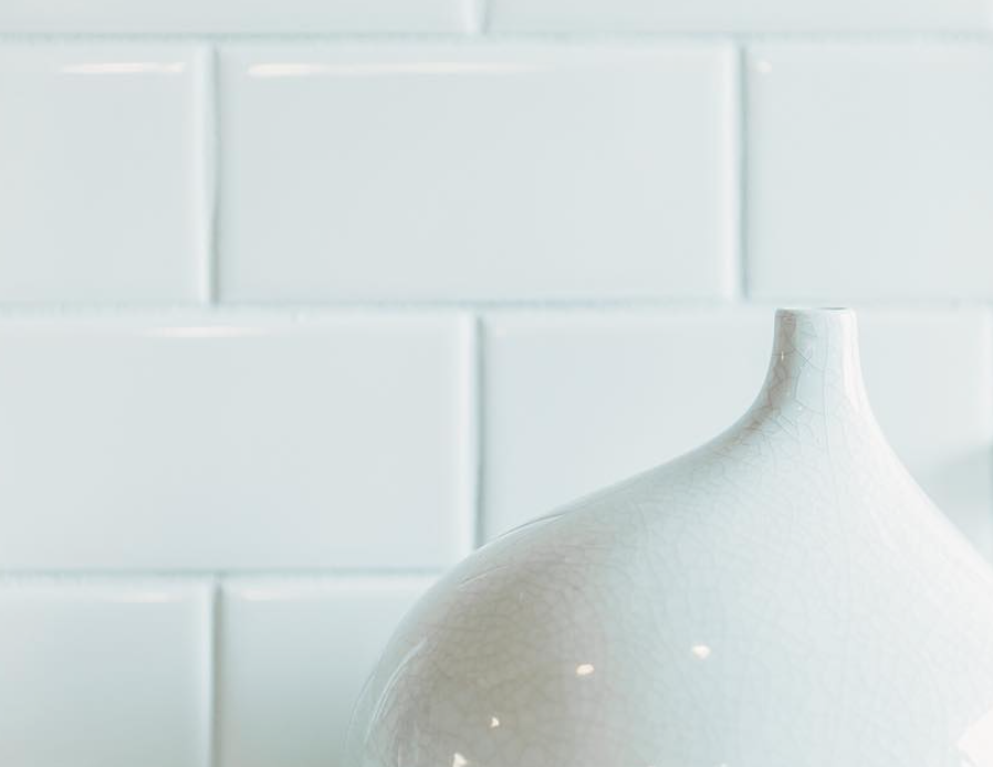 Beautiful white subway tile backsplash