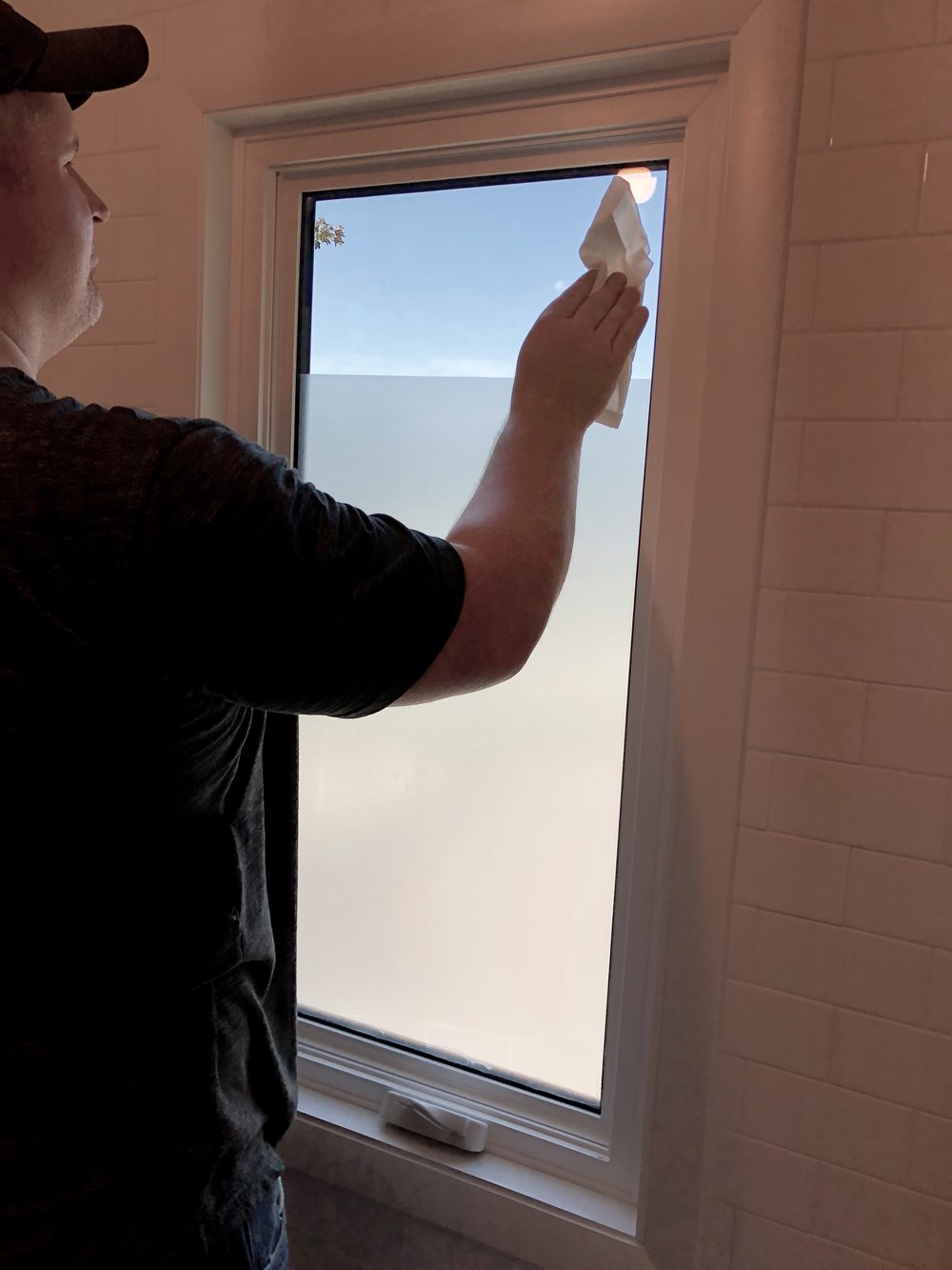 Wipe off window with privacy film