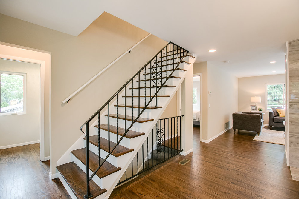 enameled railing, stair skirting, and stair risers