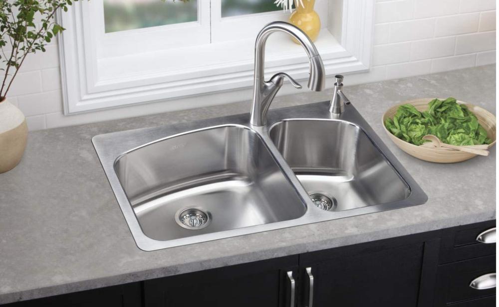 "Elkay Dayton 33"" Double Basin Dual Mount Kitchen Sink 2L Holes, $247.80"
