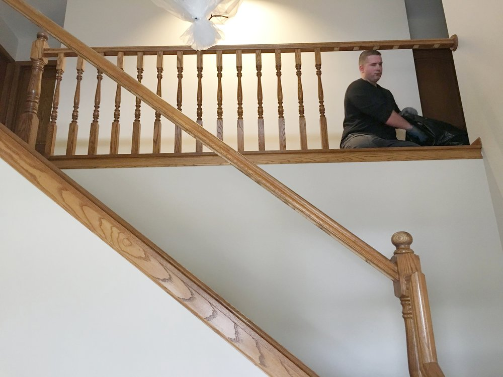 How To Give Your Spindles a Contemporary Facelift- Remove oak spindles to replace with iron/metal spindles