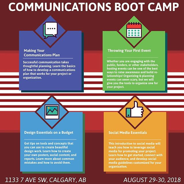 Have you been looking for ways to bring awareness to your cause or increase traffic to your site? Join us August 29-30 for our COMMUNICATIONS  BOOT CAMP to develop valuable skills in communications planning, design, social media, and event planning! Register today by following the link in our bio!