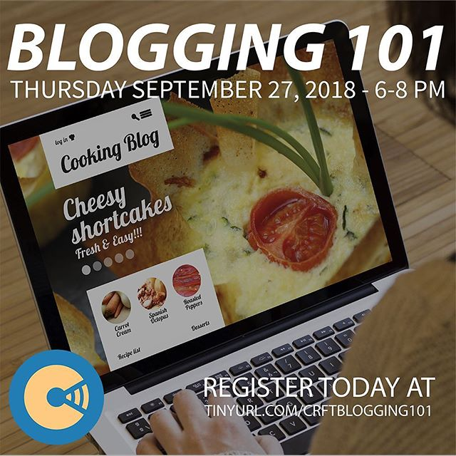 Do you have a passion you want to share with the world? The CRFT New Media Communications Bootcamp is excited to announce BLOGGING 101, a workshop geared to helping you start your blog and grow your audience. Space is limited, so register today at the link in our bio!