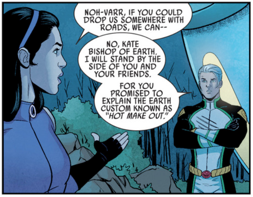 """Seems like the promise of """"make outs"""" have calmed him down a bit by the time he joins Young Avengers."""