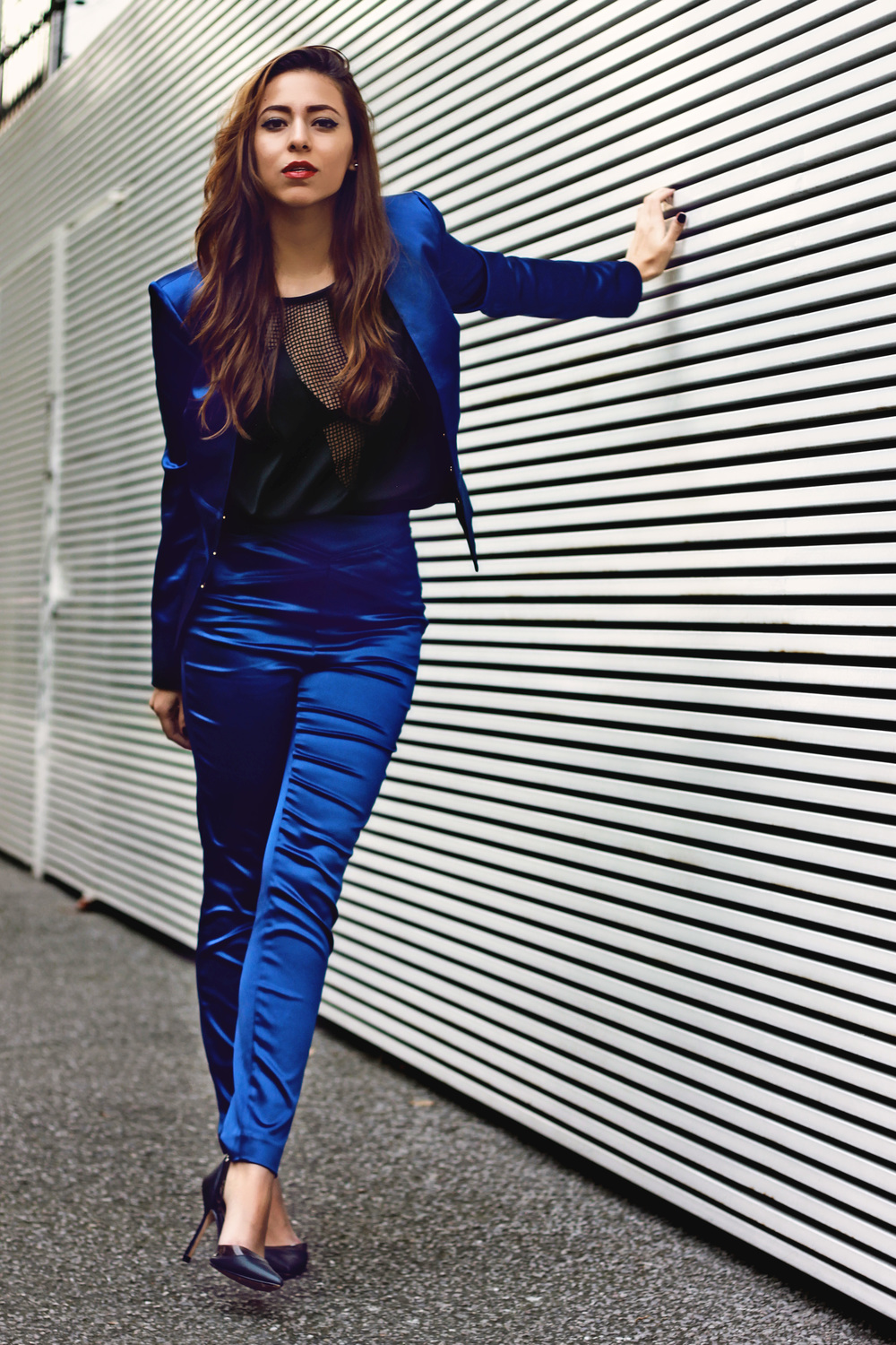 BEBE BLUE SATIN SUIT / H&M STUDIO NET BLOUSE / ZARA HEELS