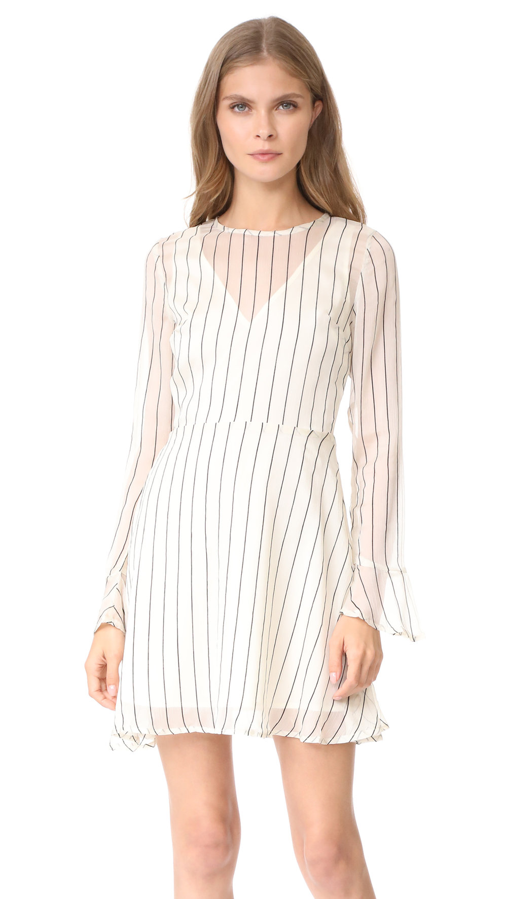 This type of dress is top on your list, imagine this white stripped dress with sneakers or heels, anything works!
