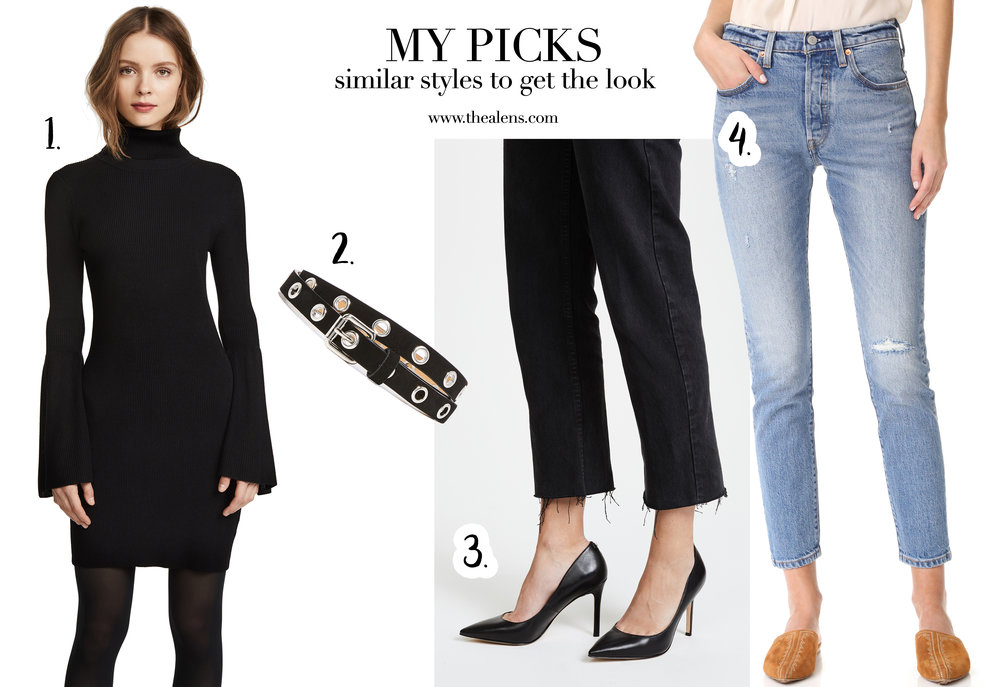 525 AMERICA Turtleneck Dress | REBECCA MINKOFF Diana Belt | SAM EDELMAN Hazel Pumps | LEVIS 501 Skinny Jeans