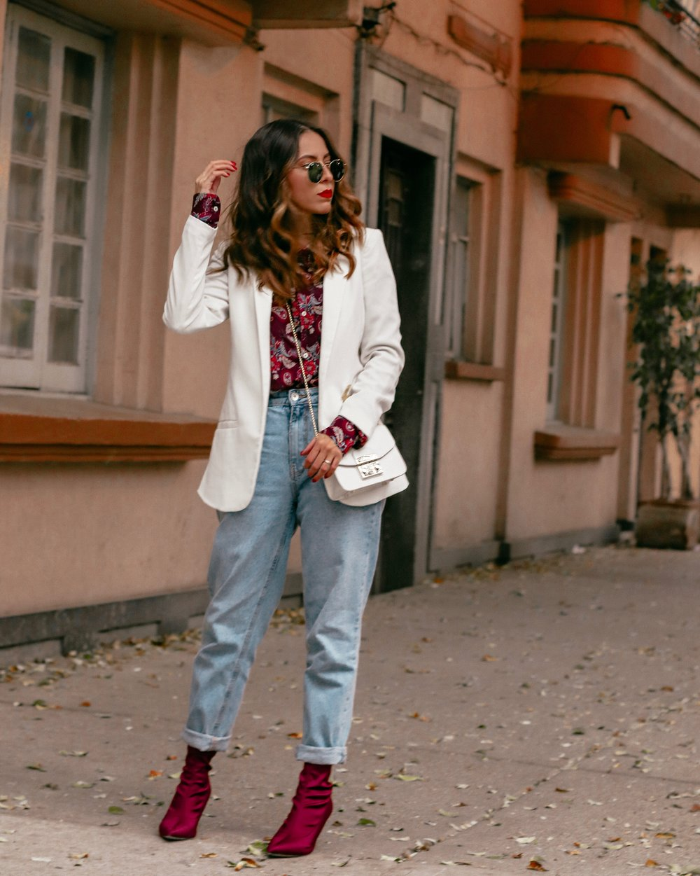 sock booties and boyfriend jeans outfit