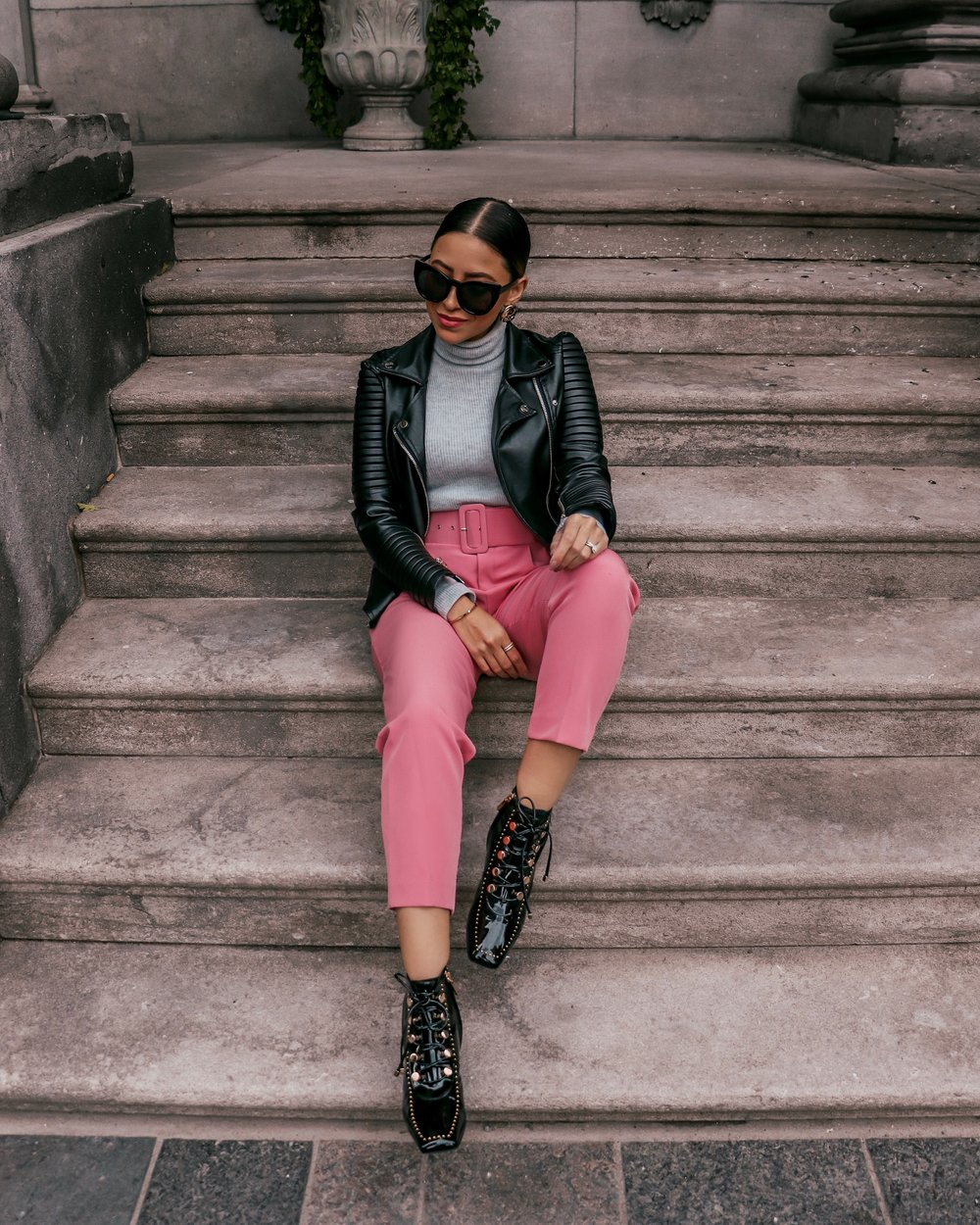 fall outfit inspiration pink pants leather jacket.JPG