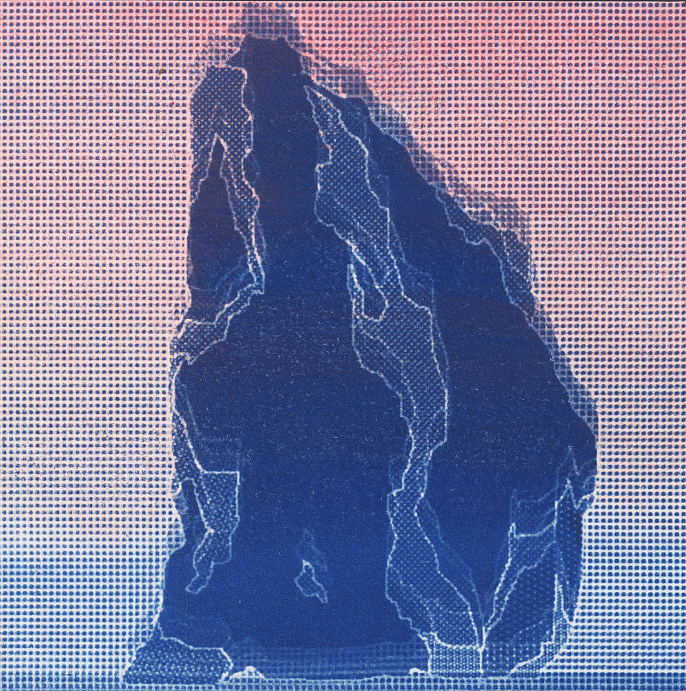A Nervous Rock Standing in the Sunset  acrylic on cyanotype, paper on panel 4 x 4 x 1.75 in 2017