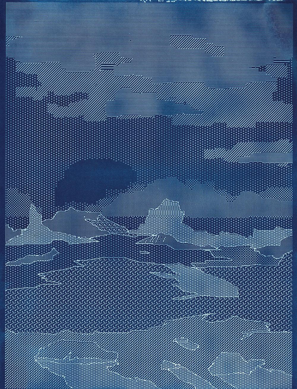 Some Open Tab of @John Wayne/@Bierstadt/@Hokusai, etc.  cyanotype 8.5 x 11 2018