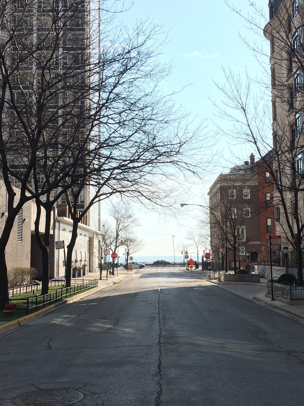 Winter view down Goethe Street towards Lake Michigan.