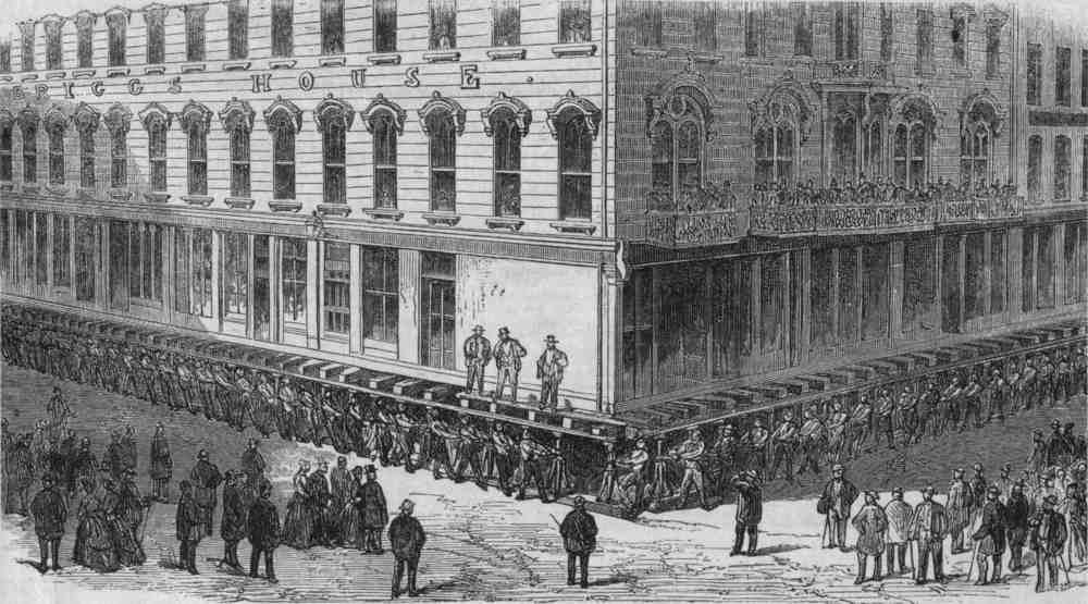 The Raising of Chicago: t he Briggs House—a brick hotel—raised, probably in 1866.
