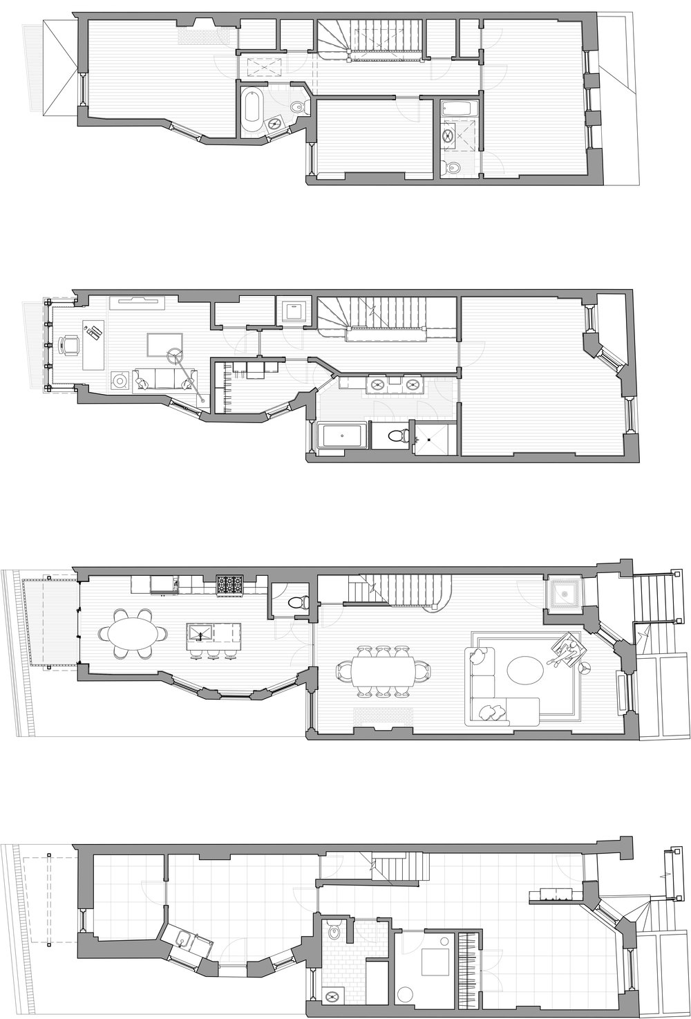 Basement, First, Second, & Third Floor Plans of 1304 N. Ritchie Court
