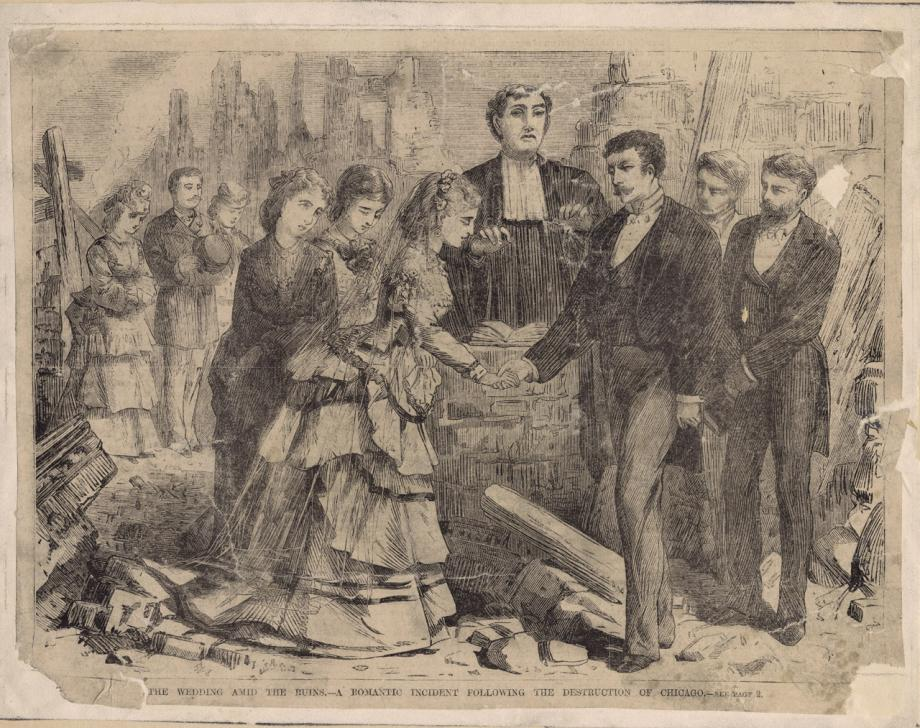 The Wedding Amid The Ruins--A Romantic Incident Following the Destruction Of Chicago; Engraving, 1871
