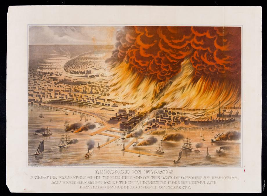 Chicago in Flames; Union Publishing Company, Lithograph, 1872