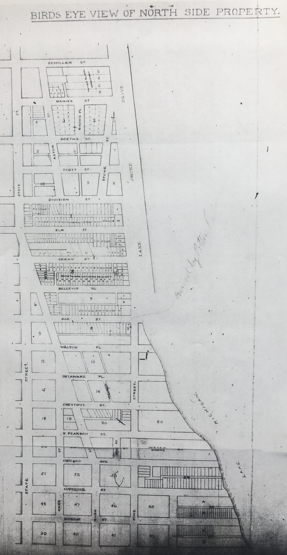 Map of Potter Palmer's Gold Coast Neighborhood. Chicago History Museum Archives.