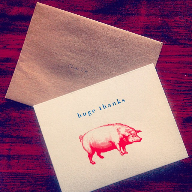 Let someone know you care…  It feels nice.  #thankyoucards #pork #kooleyisgrateful