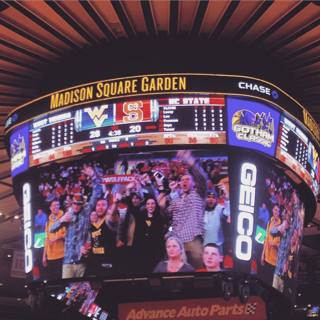 Ya boi Charlie on the Jumbotron holding up the Wolfpack Scarf… MOMMA I MADE IT. #wolfpack #msg #newyork #NCSU #kooleyishigh #goodtimes #instagood