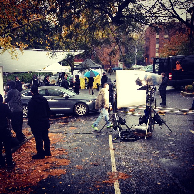 They filming in Brooklyn rain, sleet, snow. #film #brooklyn #cameras #ouchere