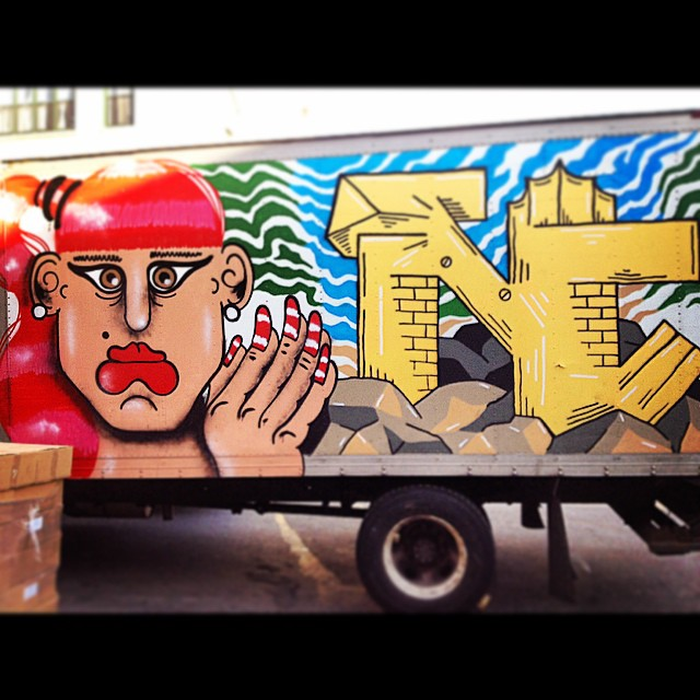 This art moves.  And it looks like they reppin NC. Daddy Likey.  #brooklyn #streetart #nailsdid #hairdid #mobile