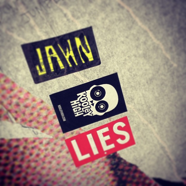 Turned a random door in Bushwick into a Sticker Collab exhibition. @alllieswithin @john_pizza #brooklyn #stickers #NC #kooleyhigh #streetart