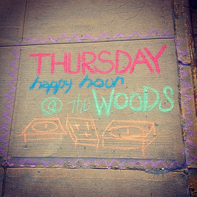We're spinning at The Woods (48 S. 4th st, Williamsburg) on Thursdays during Happy Hour (6-10pm). Dj ill Digitz, Americas Buns, and other guest DJs. Come have a drink with ya boi. #Chalk #streetart #brooklyn #williamsburg #Djs #kooleyishigh