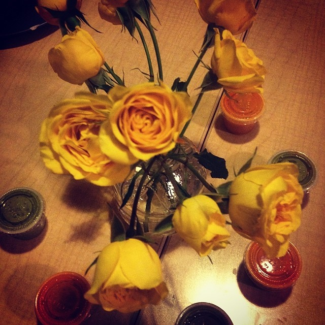 Yellow roses whilest I eat Mexican…