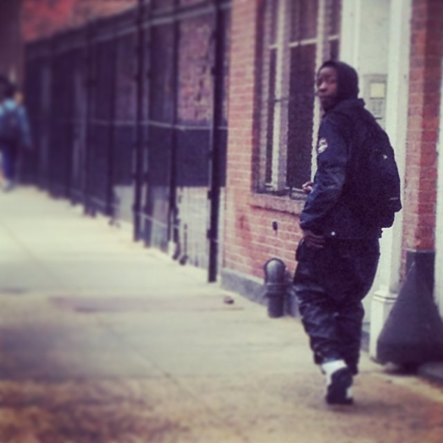 Homie Rocking the All Leather Jogging Pant…  Word to Yeezy.