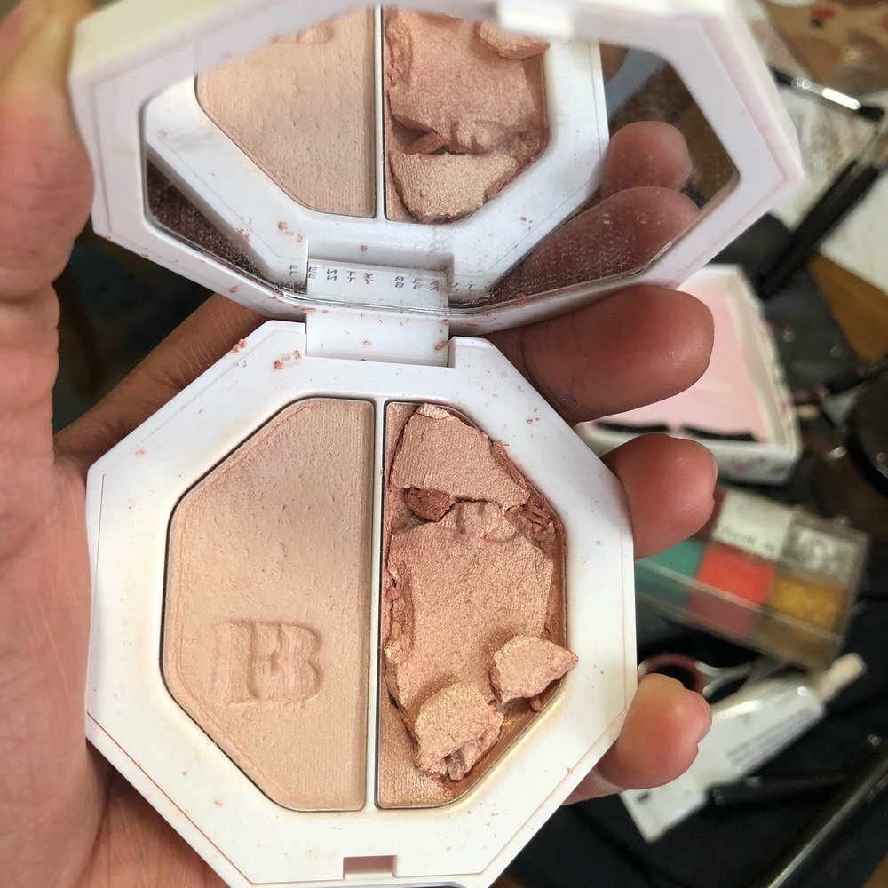 My broken Fenty Beauty Highlight Duo in Mean Money and Hustle Baby