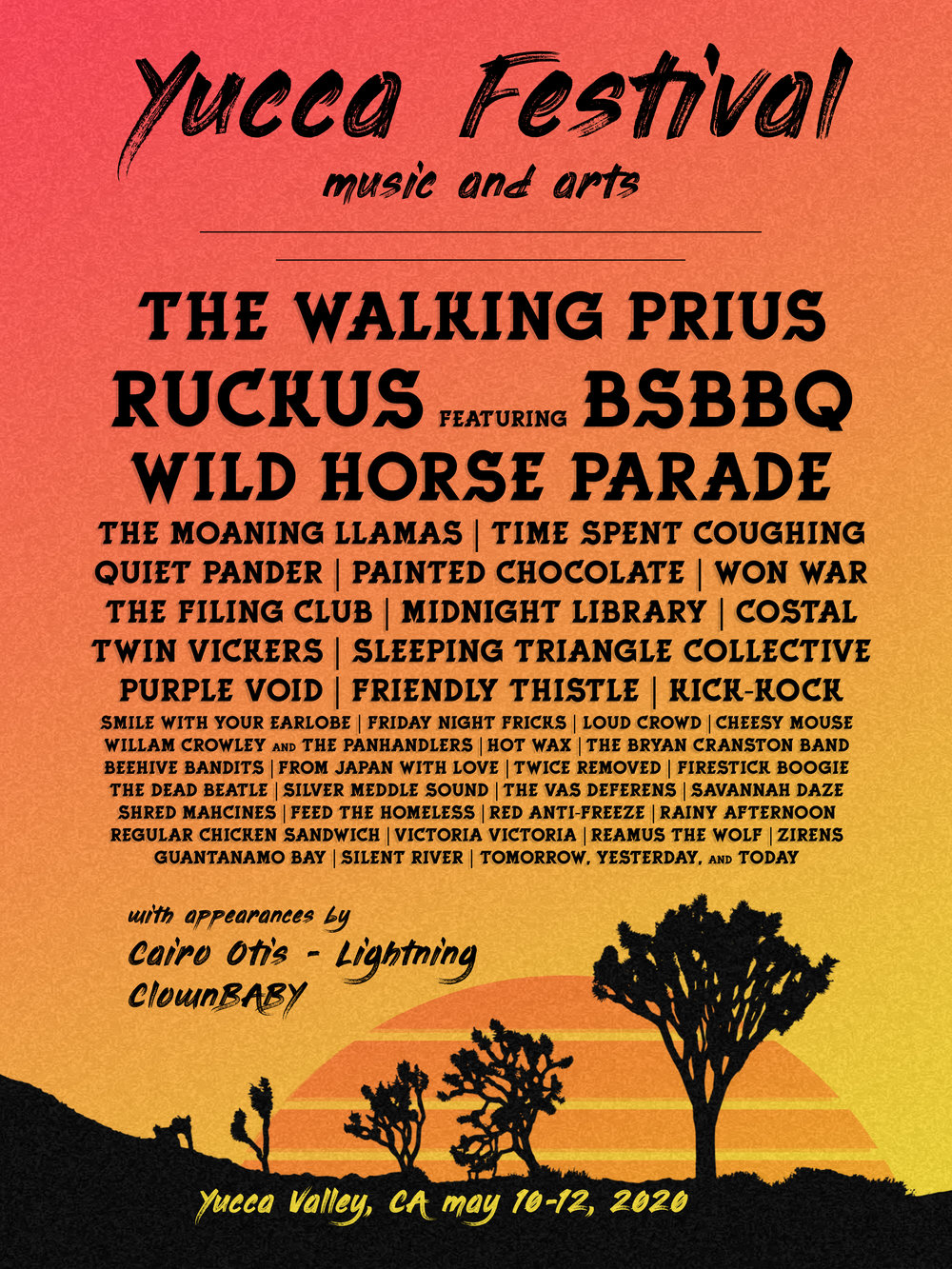 yucca_festival   We're super excited to announce the official line-up for the festival this year, which includes headliners THE WALKING PRIUS, RUCKUS featuring BSBBQ, and WILD HORSE PARADE  .  Every year Yucca Music and Arts loans itself to a certain artistic and musical theme. This year''s theme is vaporwave, so get out your cassette tapes and 80s nostalgia keepsakes and head to the desert!  .   #yuccafest #theme #v a p o r w a v e