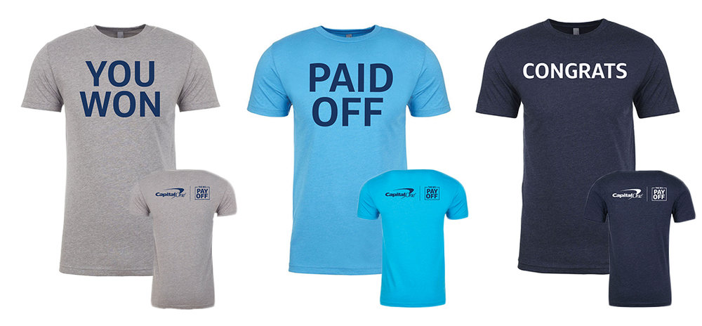 The Big Payoff t-shirts for the winner reveal video.