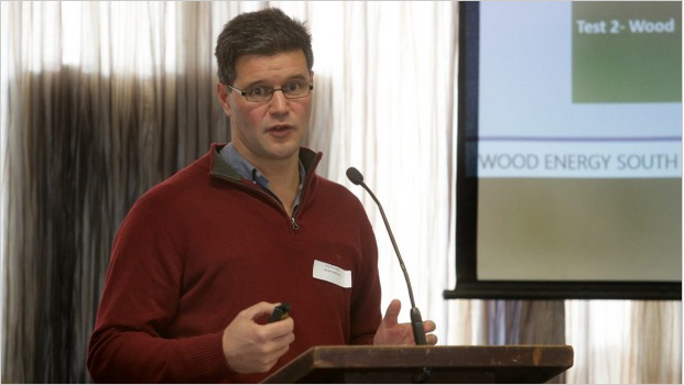 Lloyd presenting at the Commercial Biomass Boilers Symposium at the Kelvin Hotel last Thursday, in Southland.