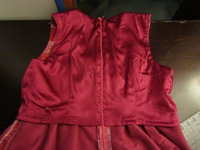 Sorry for how wrinkled the lining is. The solid pink under the lining is the underlining I added.