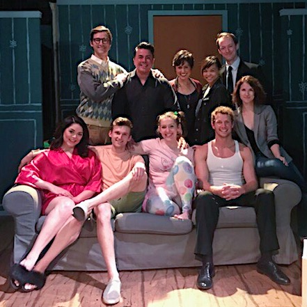 The cast and crew of Mr. Marmalade, Spring 2018, at Stuart Rogers Studios. Pictured: Charlie Farrell, Gary Thomas (Stage Manager), Pilar Holland (Producer), Dana Roy (Propmaster), Tyler Seiple, (bottom row): Alyssa Gabrielle Rodriguez, Matt Gardner, Kaitlin Sullivan, Johnny Wactor, Aubree Bowen (Director).