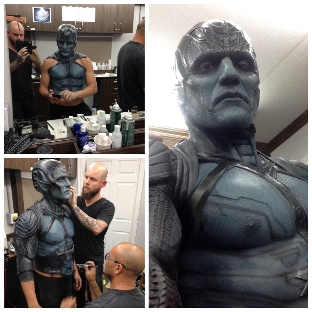 Behind the scenes in MTL representing Legacy Effects. Alexei Dmitriew @hookuptattoos and I applied Oscar's makeup for Apocalypse. This is for the end sequence where his armor gets blasted away. The Apocalypse makeup consisted of a urethane head piece, silicone neck/cowl, silicone forehead, face and lower jaw. It usually took us around 1 1/2 hours to do the face makeup when he wore his armor. With the added silicone chest and back painting and tattoos (provided by Hook Up Tattoos) we added an extra 30 minutes to the application time. @hookuptattoos ‪#‎oscarisaac‬ ‪#‎apocalypse‬ ‪#‎xmenapocalypse‬‪#‎marveluniverse‬ ‪#‎marvel‬
