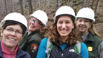 Emlyn Johnson with Friends of Mammoth Cave's Helen Siewers and Mammoth Cave rangers Vickie Carson and Leslie Price.