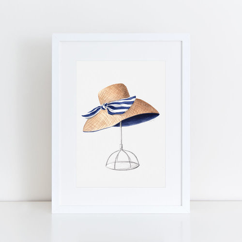 8c43a4e5 Original 8x10 Wide Brim Sunhat with Striped Bow Watercolor Painting ...