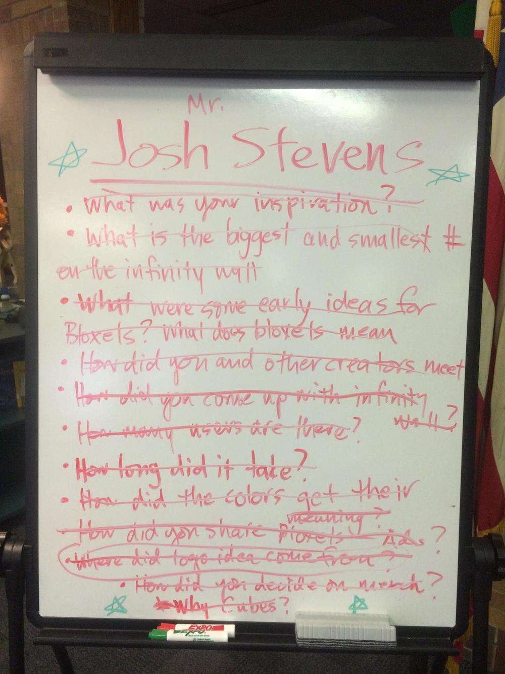 A list of questions for Josh to answer