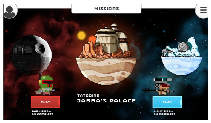 Selecting between the light and dark  Story Mode in Bloxels Star Wars.