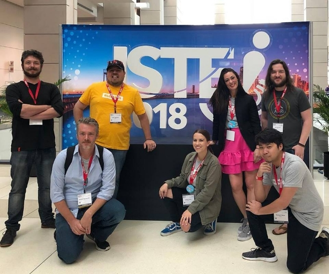 Bloxels EDU ISTE Crew 2018. From Left to Right: Justin, James, Josh, Lizzie, Amber, Rob, and Richard. Missing: Robin