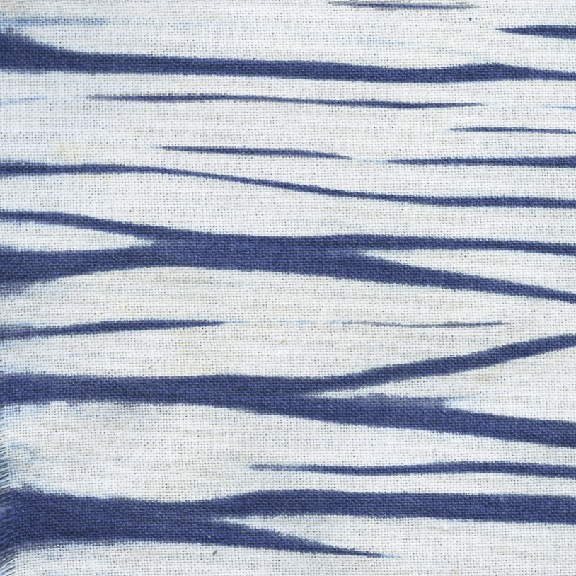 hand dyed in indigo with arashi shibori resist