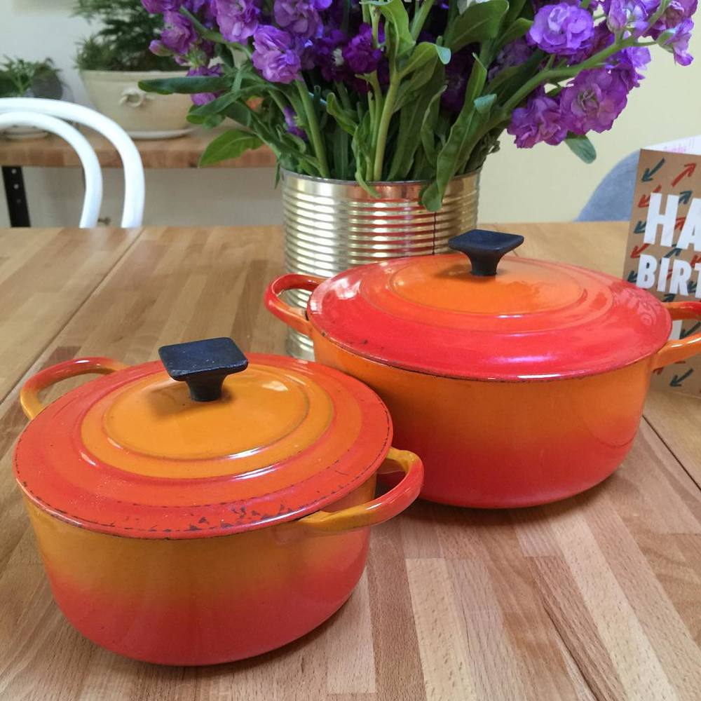 A totally insane find at a recent estate sale. Two vintage LeCreuset pots for $10.