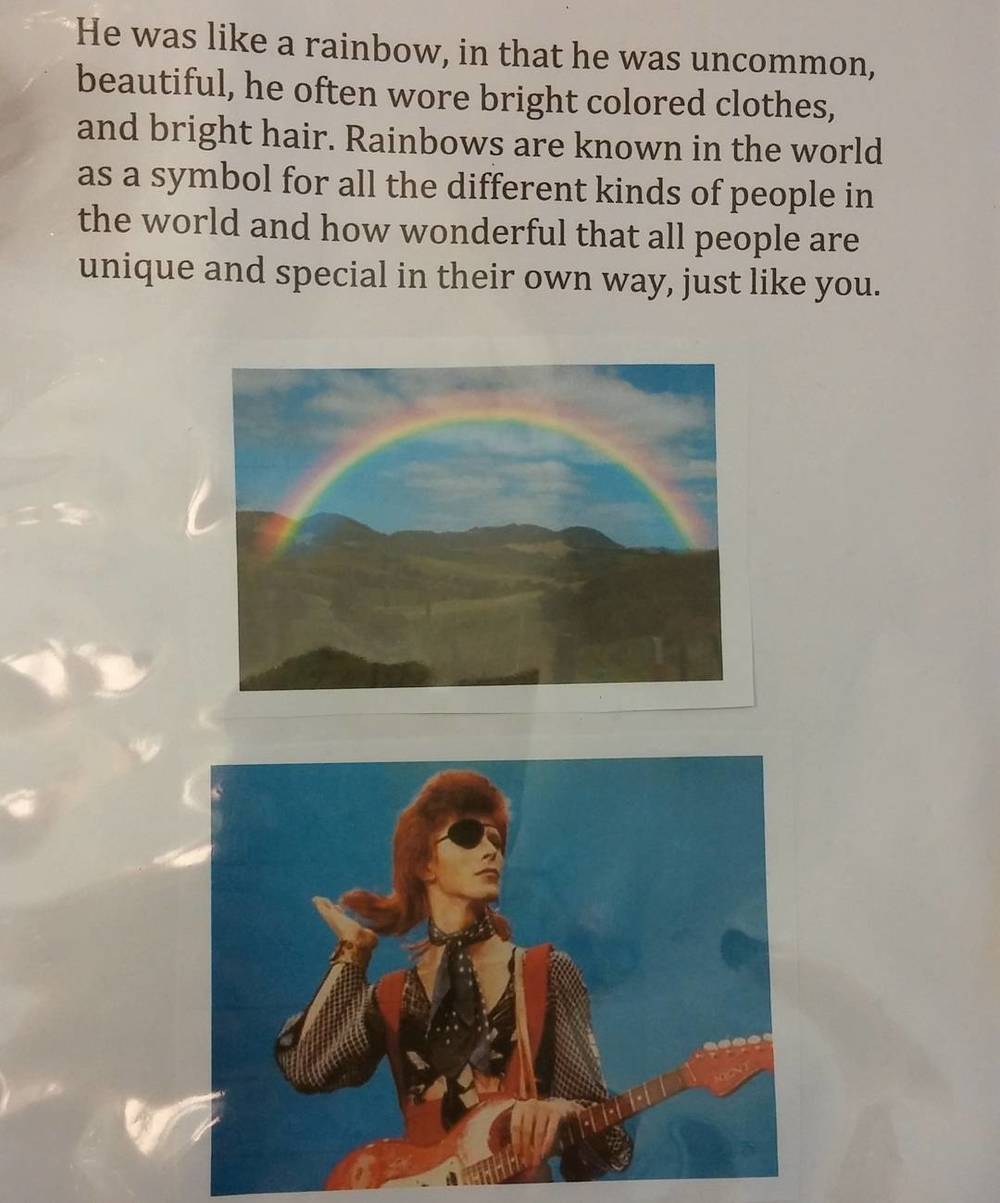 Excerpt from the Bowie book created for the preschoolers, image from the Turning Sun School Instagram