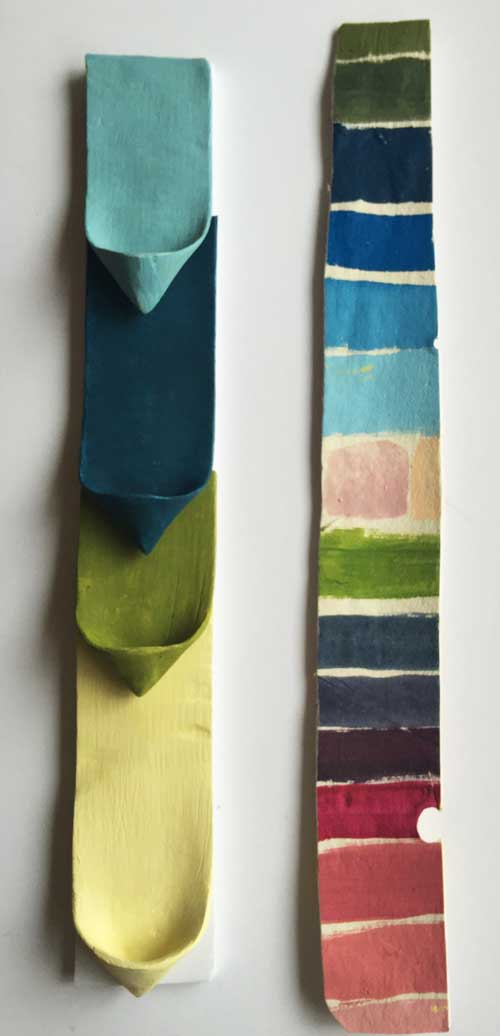 This sculpture sample included a color swatches of the range of colors the client requested for the project. I kept half and sent the other to the client.